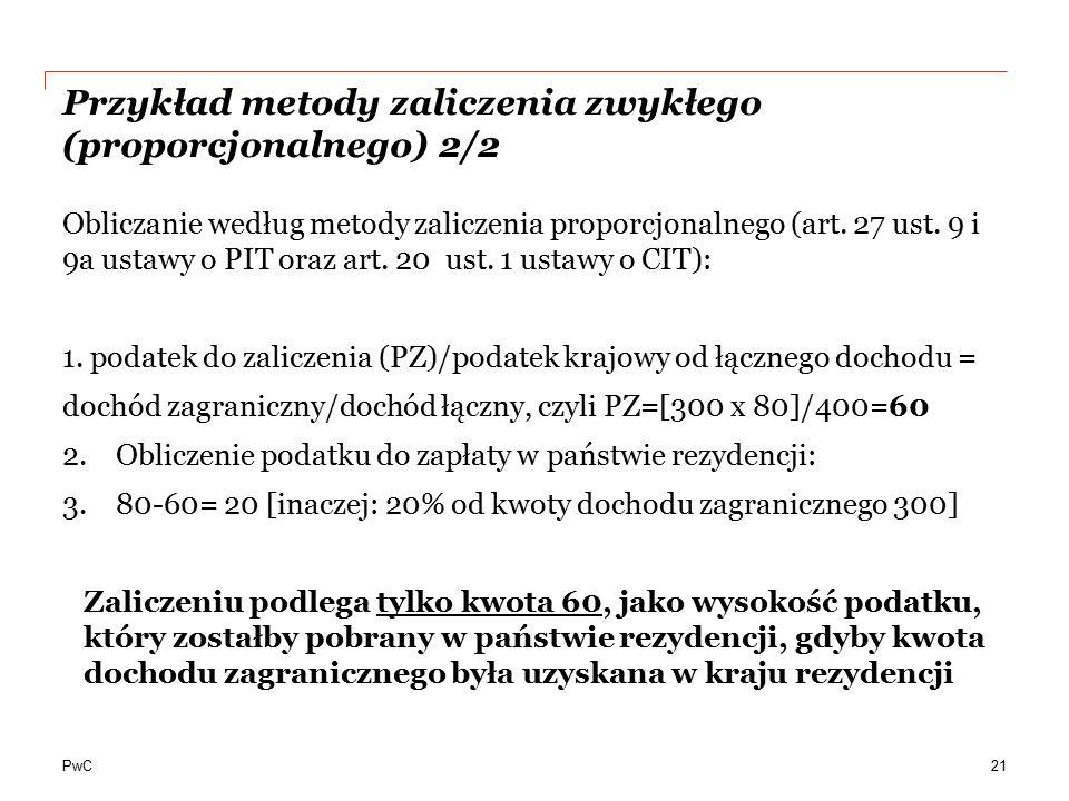 Przykład metody zaliczenia zwykłego (proporcjonalnego) 2/2