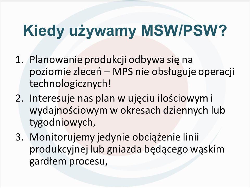 Kiedy używamy MSW/PSW Planowanie produkcji odbywa się na poziomie zleceń – MPS nie obsługuje operacji technologicznych!