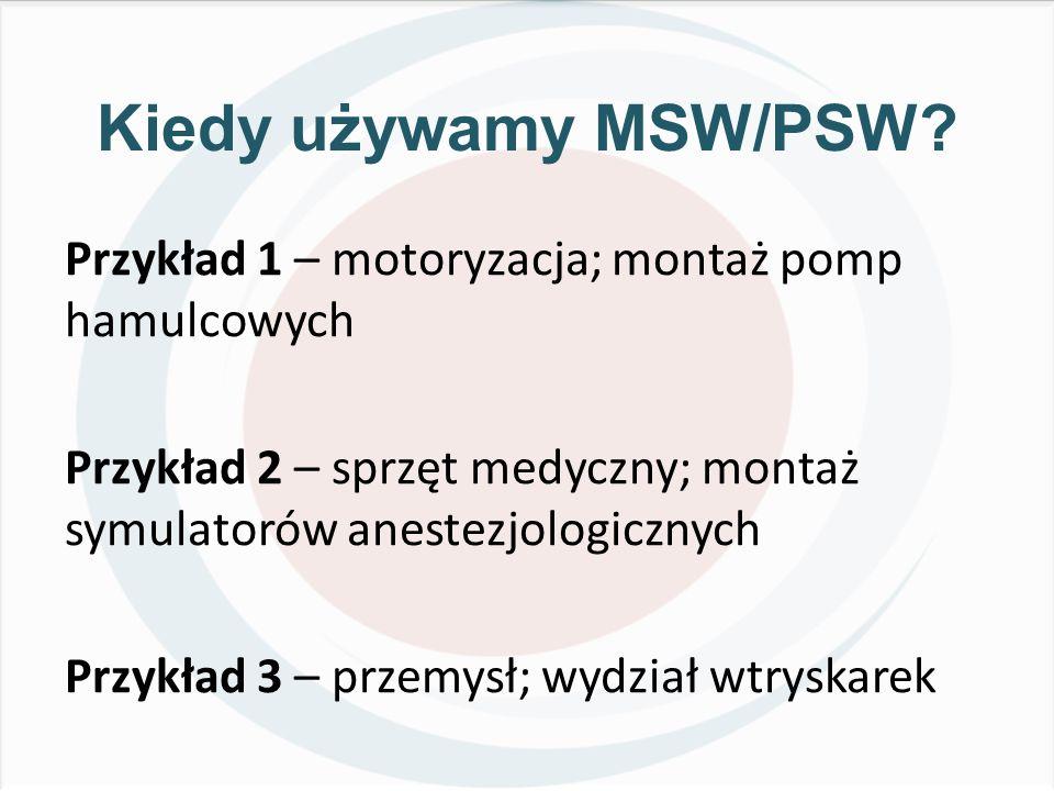 Kiedy używamy MSW/PSW Przykład 1 – motoryzacja; montaż pomp hamulcowych. Przykład 2 – sprzęt medyczny; montaż symulatorów anestezjologicznych.
