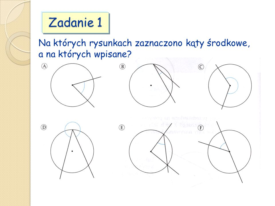 Zadanie 1 Na których rysunkach zaznaczono kąty środkowe, a na których wpisane