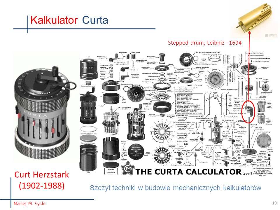 Kalkulator Curta Curt Herzstark (1902-1988)