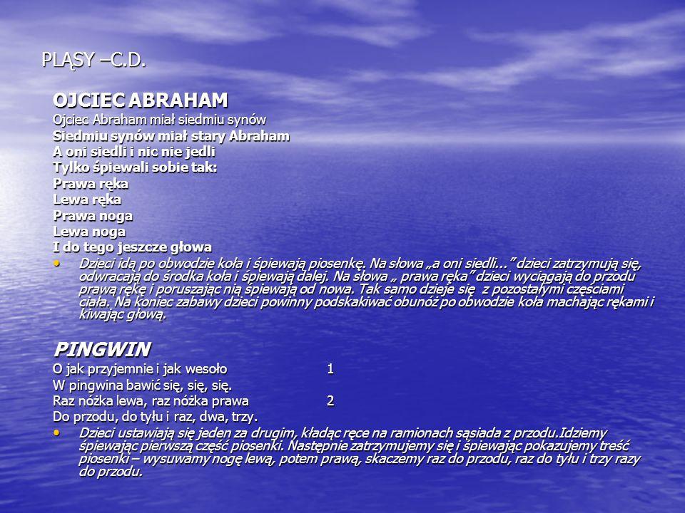 PLĄSY –C.D. OJCIEC ABRAHAM PINGWIN Ojciec Abraham miał siedmiu synów