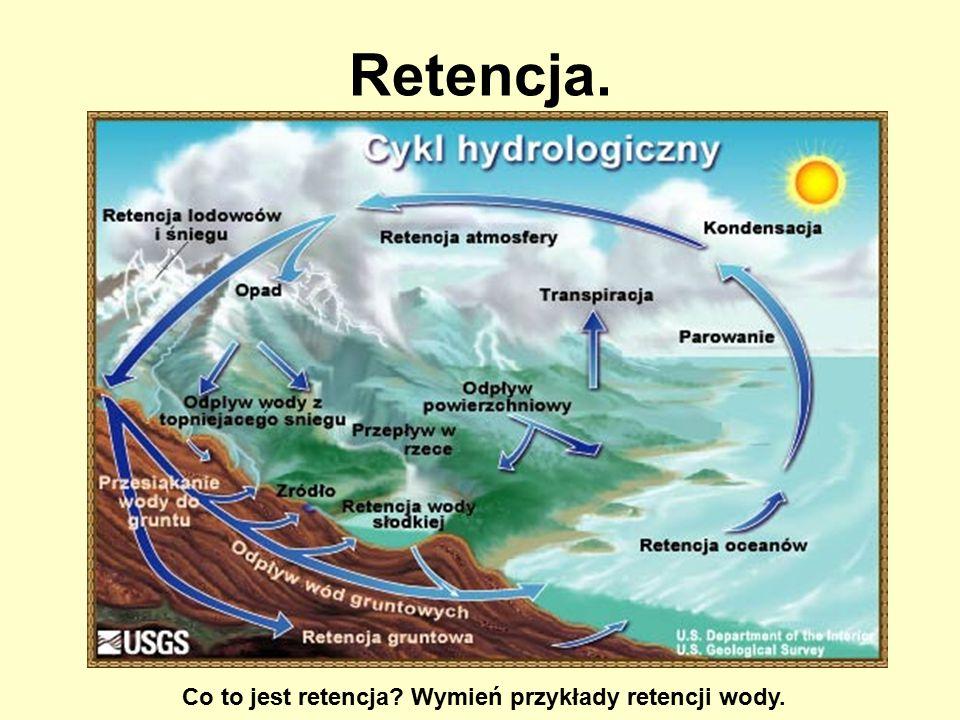 Co to jest retencja Wymień przykłady retencji wody.