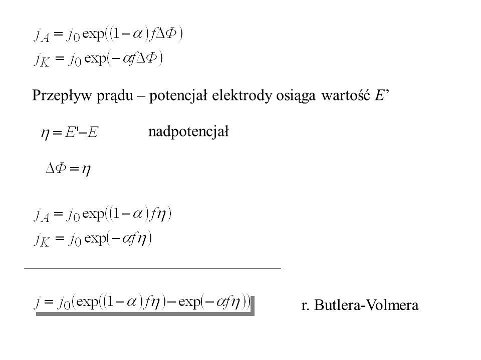 Przepływ prądu – potencjał elektrody osiąga wartość E'