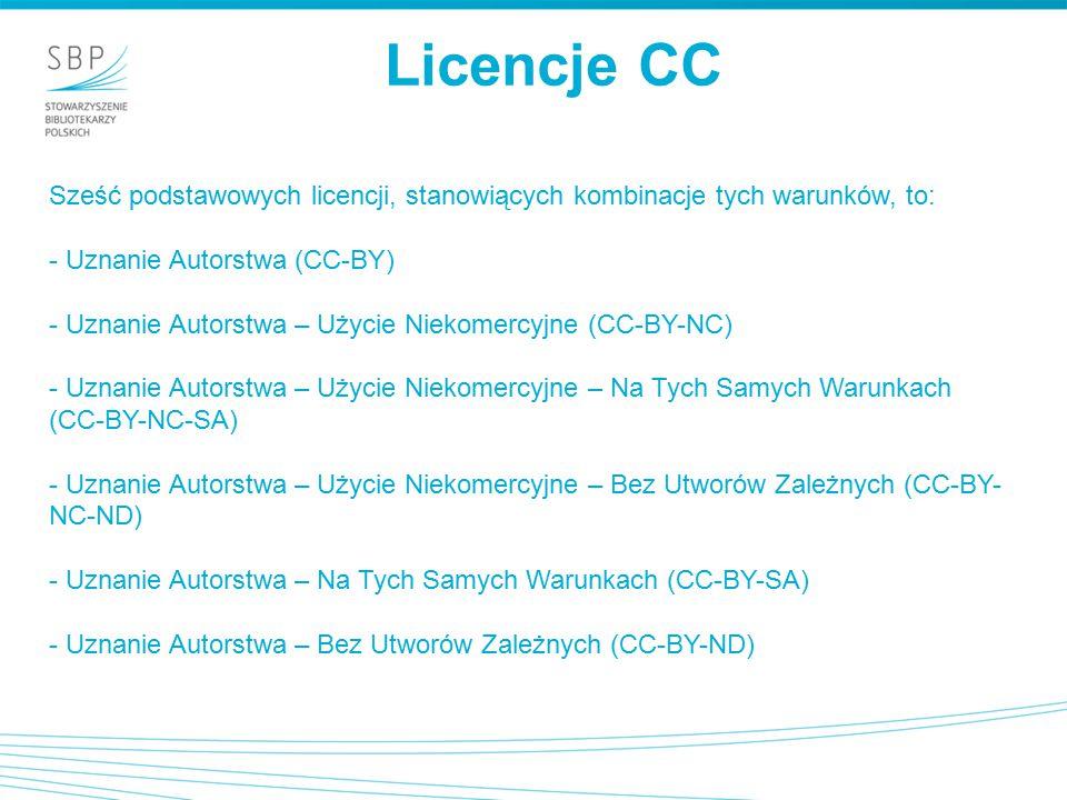 Licencje CC Sześć podstawowych licencji, stanowiących kombinacje tych warunków, to: - Uznanie Autorstwa (CC-BY)