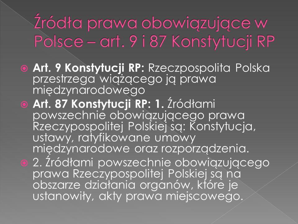 Źródła prawa obowiązujące w Polsce – art. 9 i 87 Konstytucji RP