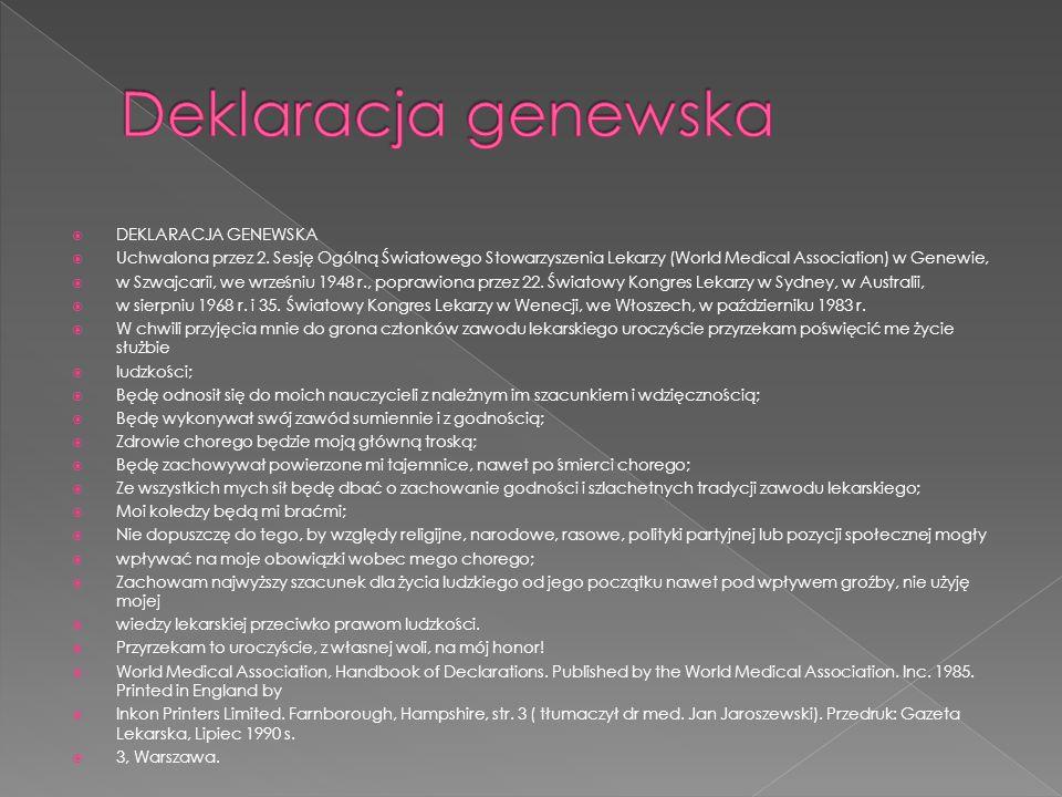Deklaracja genewska DEKLARACJA GENEWSKA