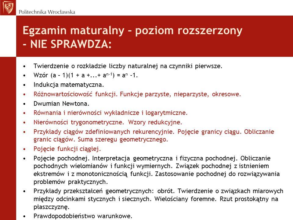 Egzamin maturalny – poziom rozszerzony - NIE SPRAWDZA: