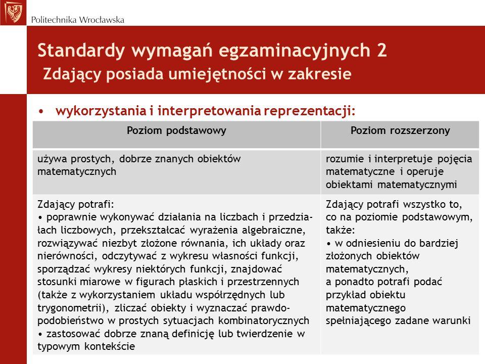 Standardy wymagań egzaminacyjnych 2 Zdający posiada umiejętności w zakresie