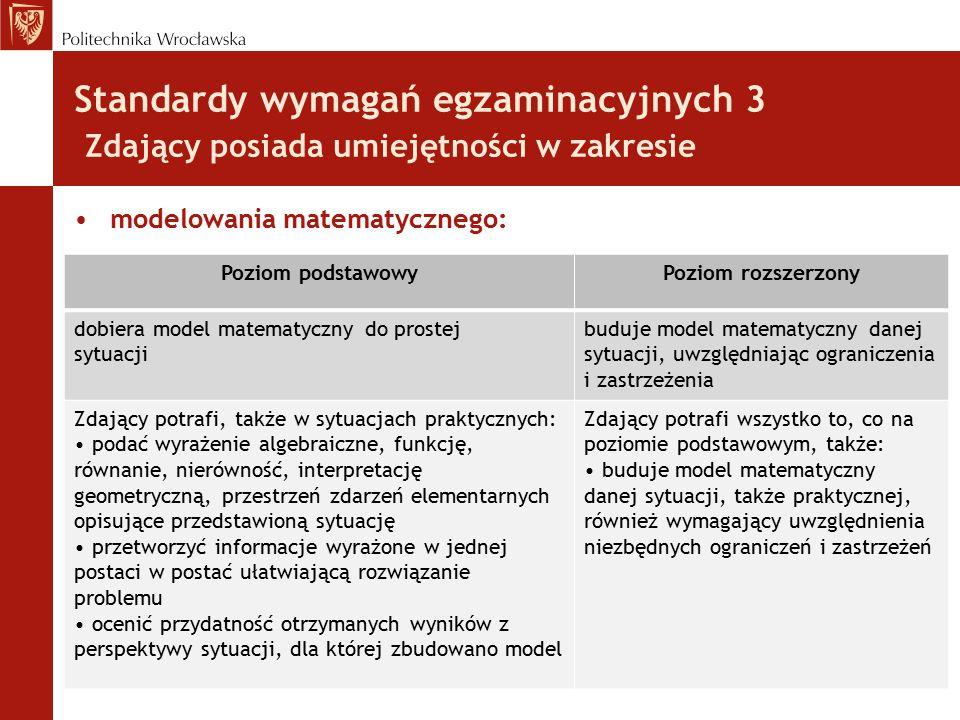 Standardy wymagań egzaminacyjnych 3 Zdający posiada umiejętności w zakresie