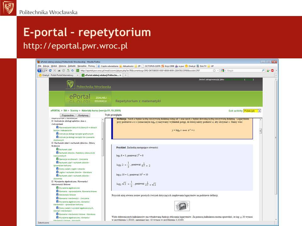E-portal – repetytorium http://eportal.pwr.wroc.pl/