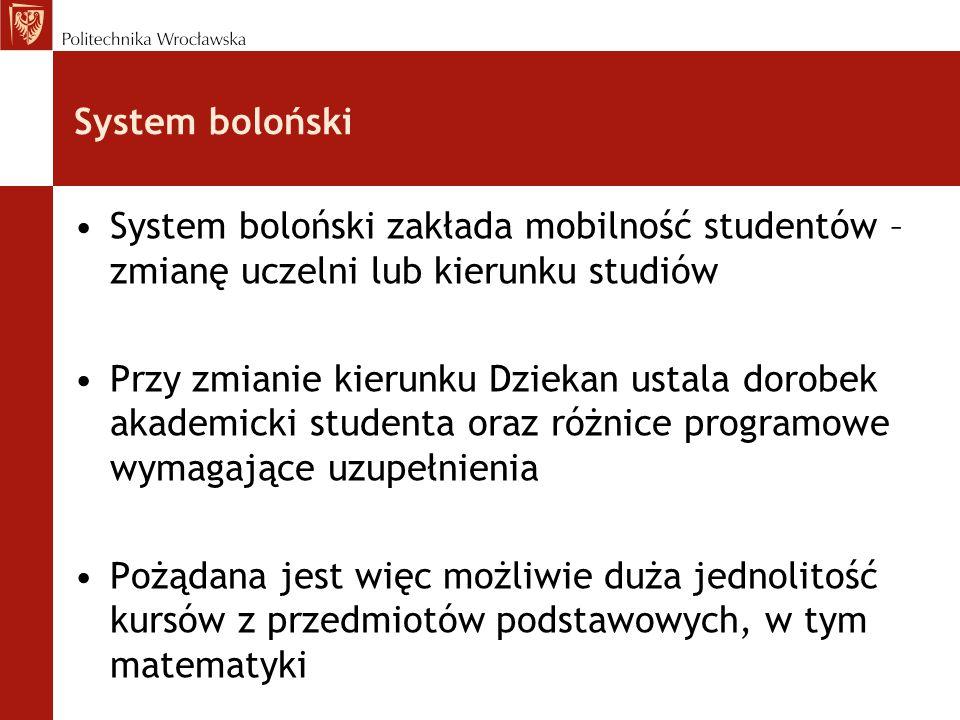 System boloński System boloński zakłada mobilność studentów – zmianę uczelni lub kierunku studiów.