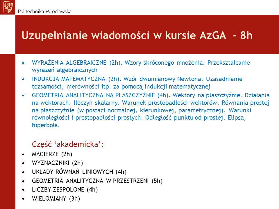 Uzupełnianie wiadomości w kursie AzGA – 8h