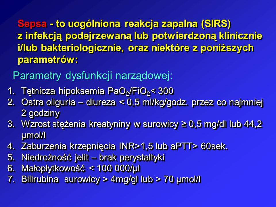 Parametry dysfunkcji narządowej: