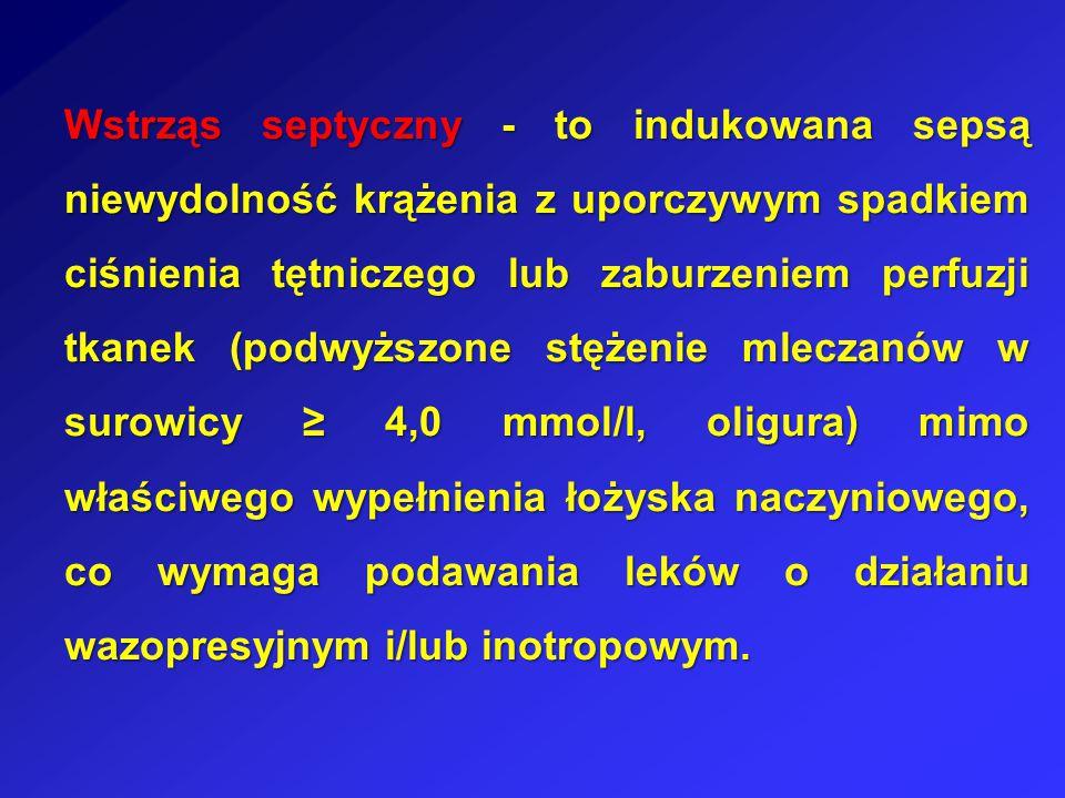 Wstrząs septyczny - to indukowana sepsą niewydolność krążenia z uporczywym spadkiem ciśnienia tętniczego lub zaburzeniem perfuzji tkanek (podwyższone stężenie mleczanów w surowicy ≥ 4,0 mmol/l, oligura) mimo właściwego wypełnienia łożyska naczyniowego, co wymaga podawania leków o działaniu wazopresyjnym i/lub inotropowym.