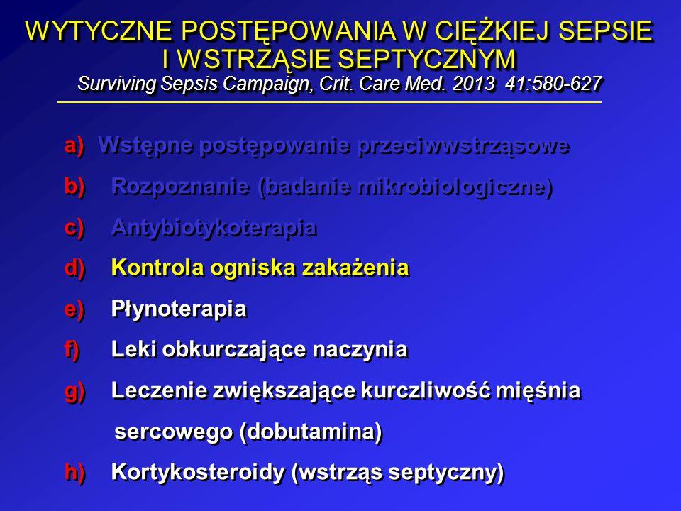WYTYCZNE POSTĘPOWANIA W CIĘŻKIEJ SEPSIE I WSTRZĄSIE SEPTYCZNYM Surviving Sepsis Campaign, Crit. Care Med. 2013 41:580-627