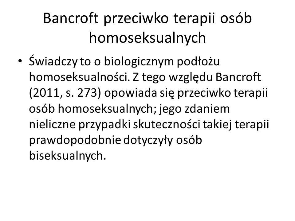 Bancroft przeciwko terapii osób homoseksualnych