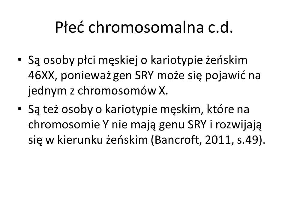 Płeć chromosomalna c.d. Są osoby płci męskiej o kariotypie żeńskim 46XX, ponieważ gen SRY może się pojawić na jednym z chromosomów X.