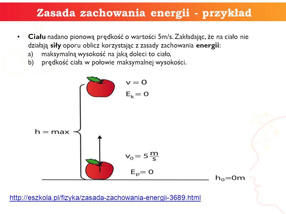 Zasada zachowania energii - przykład