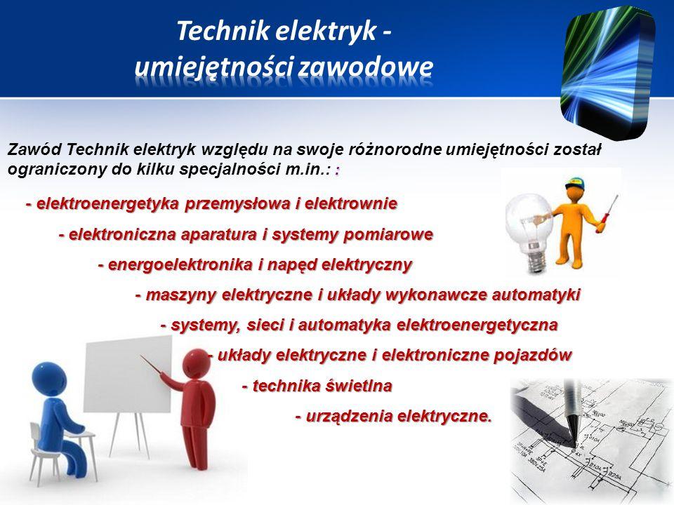Technik elektryk - umiejętności zawodowe
