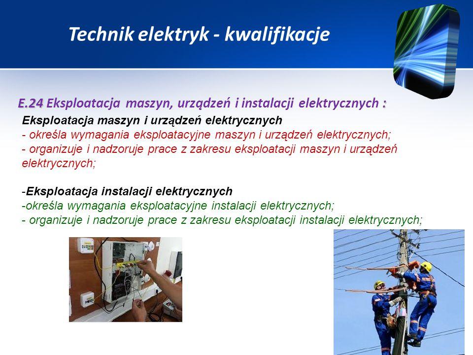 Technik elektryk - kwalifikacje