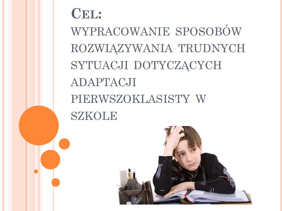 Cel: wypracowanie sposobów rozwiązywania trudnych sytuacji dotyczących adaptacji pierwszoklasisty w szkole