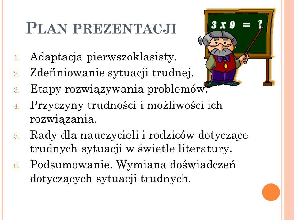 Plan prezentacji Adaptacja pierwszoklasisty.