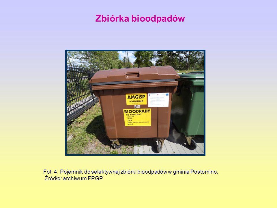 Zbiórka bioodpadów Fot. 4. Pojemnik do selektywnej zbiórki bioodpadów w gminie Postomino.