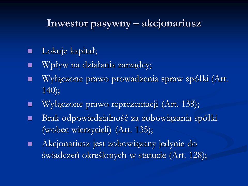 Inwestor pasywny – akcjonariusz