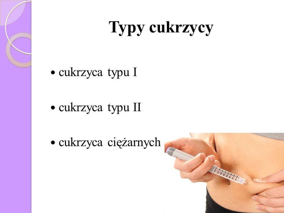 Typy cukrzycy cukrzyca typu I cukrzyca typu II cukrzyca ciężarnych