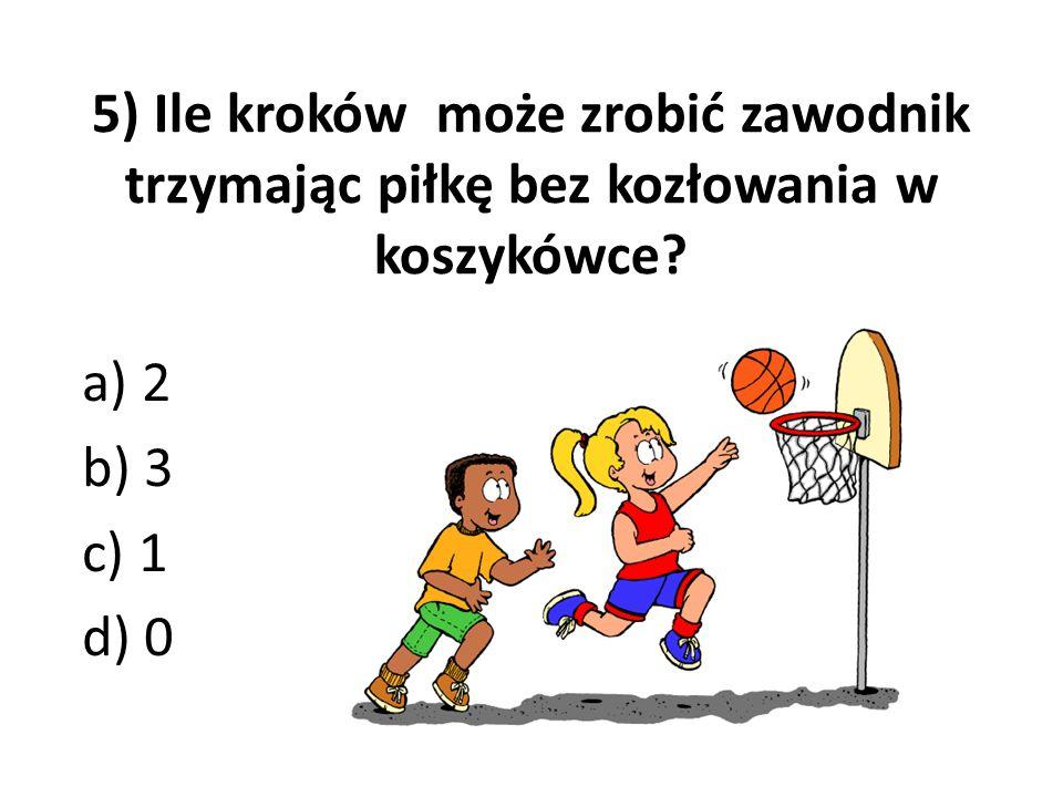5) Ile kroków może zrobić zawodnik trzymając piłkę bez kozłowania w koszykówce