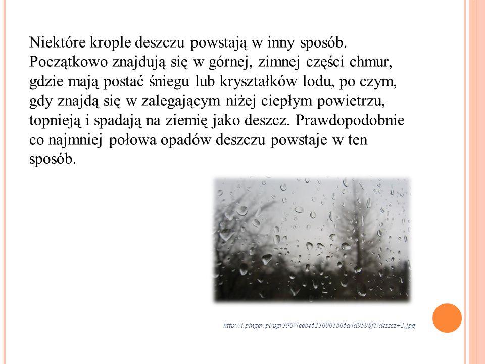 Niektóre krople deszczu powstają w inny sposób