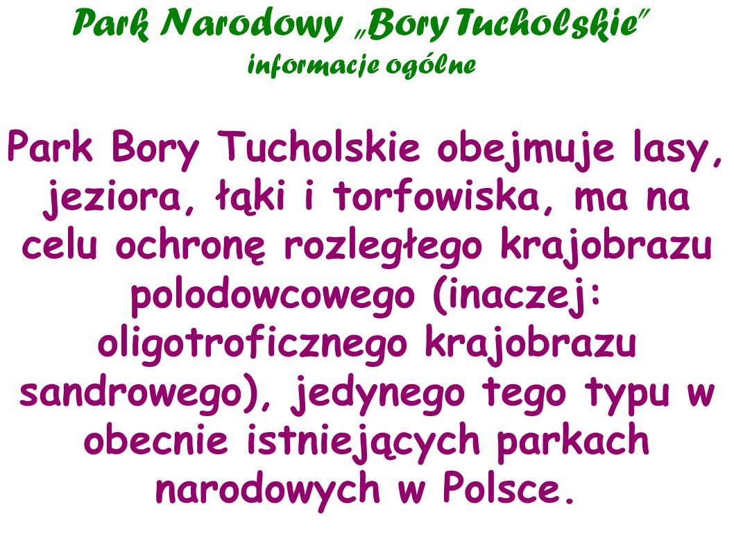 """Park Narodowy """"Bory Tucholskie informacje ogólne"""
