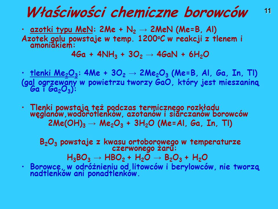 Właściwości chemiczne borowców