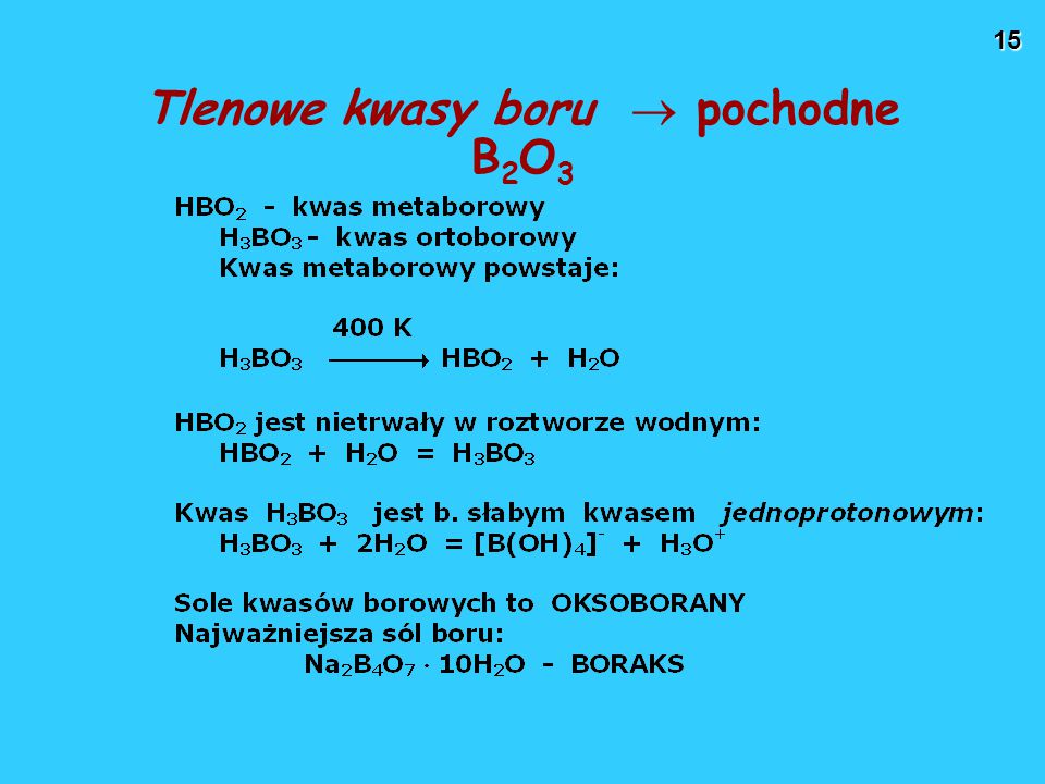 Tlenowe kwasy boru  pochodne B2O3