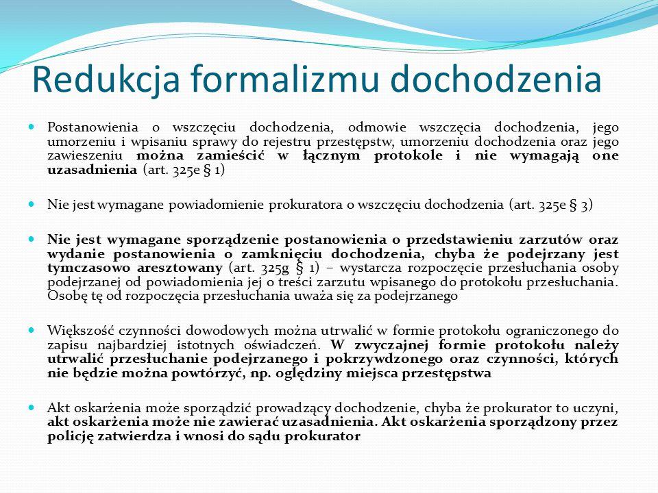 Redukcja formalizmu dochodzenia