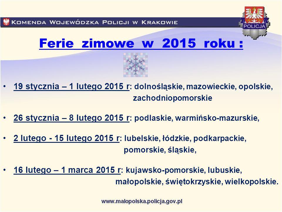 Ferie zimowe w 2015 roku : 19 stycznia – 1 lutego 2015 r: dolnośląskie, mazowieckie, opolskie, zachodniopomorskie.