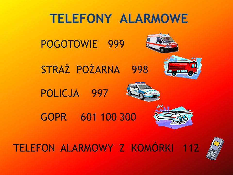 TELEFONY ALARMOWE POGOTOWIE 999 STRAŻ POŻARNA 998 POLICJA 997 GOPR