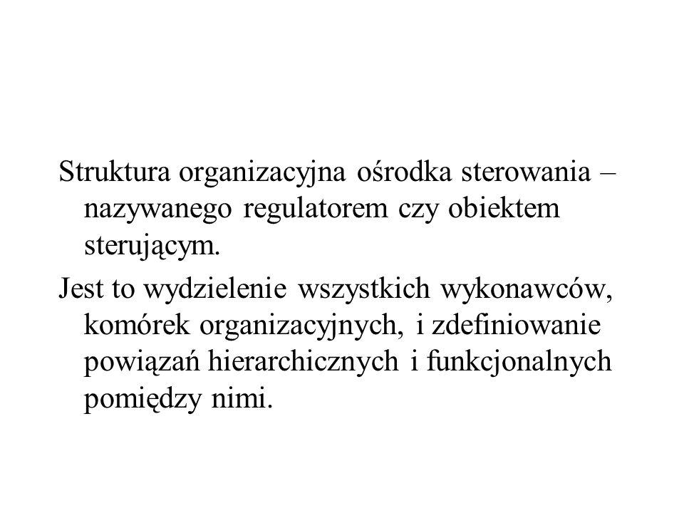 Struktura organizacyjna ośrodka sterowania – nazywanego regulatorem czy obiektem sterującym.