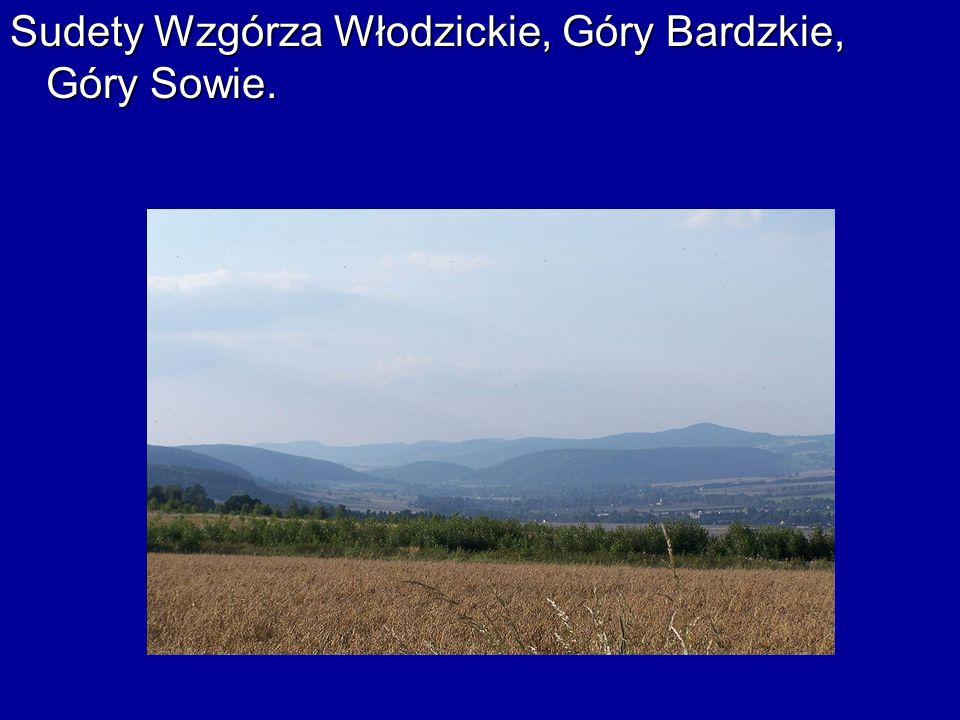 Sudety Wzgórza Włodzickie, Góry Bardzkie, Góry Sowie.
