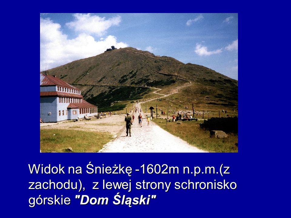 Widok na Śnieżkę -1602m n.p.m.(z zachodu), z lewej strony schronisko górskie Dom Śląski