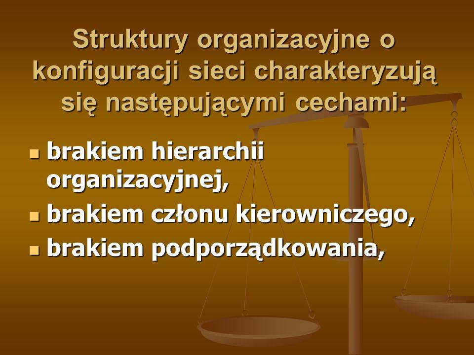 Struktury organizacyjne o konfiguracji sieci charakteryzują się następującymi cechami: