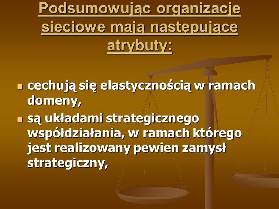 Podsumowując organizacje sieciowe mają następujące atrybuty:
