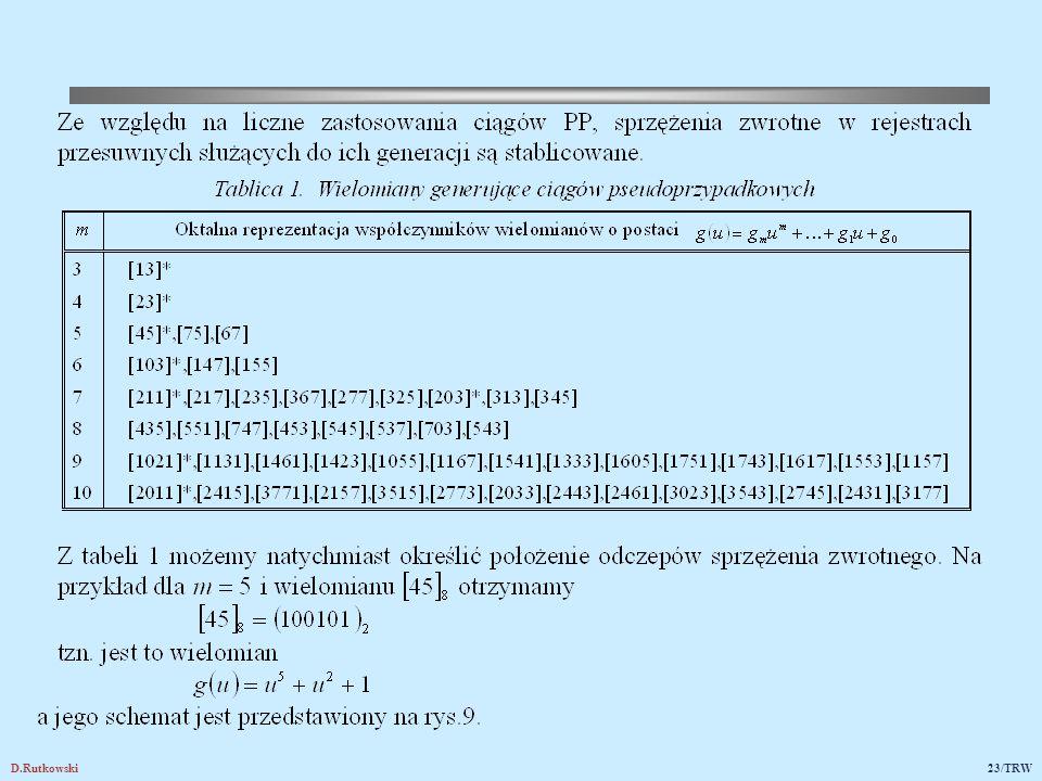 Rys.9. Schemat rejestru przesuwnego o funkcji generującej g(u)=u5+u2+1.