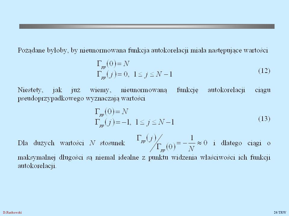 3.2. Funkcje korelacji skrośnej ciągów pseudoprzypadkowych; ciągi Golda