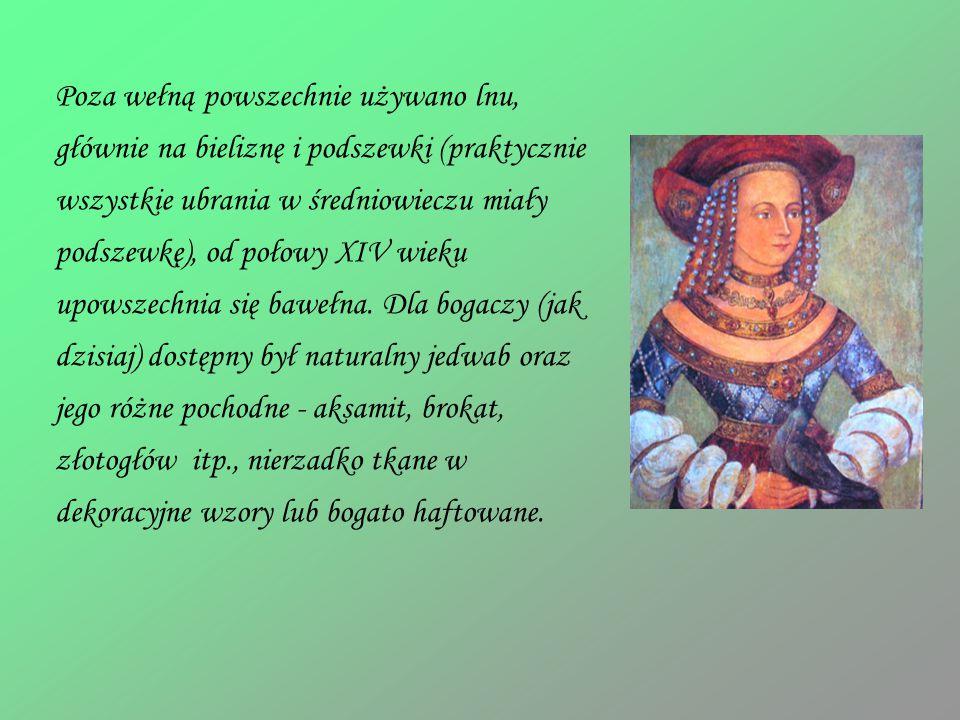 Poza wełną powszechnie używano lnu, głównie na bieliznę i podszewki (praktycznie wszystkie ubrania w średniowieczu miały podszewkę), od połowy XIV wieku upowszechnia się bawełna.