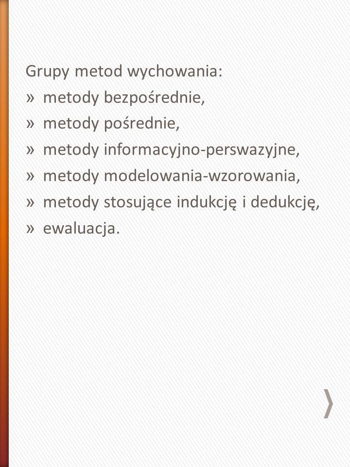 Grupy metod wychowania: