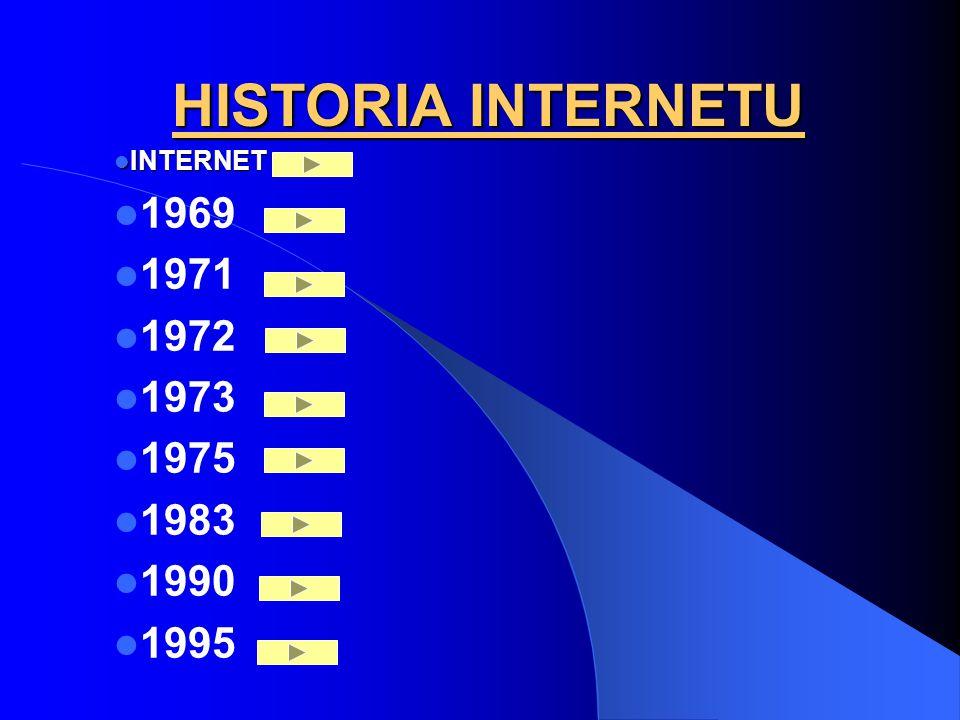 HISTORIA INTERNETU INTERNET 1969 1971 1972 1973 1975 1983 1990 1995