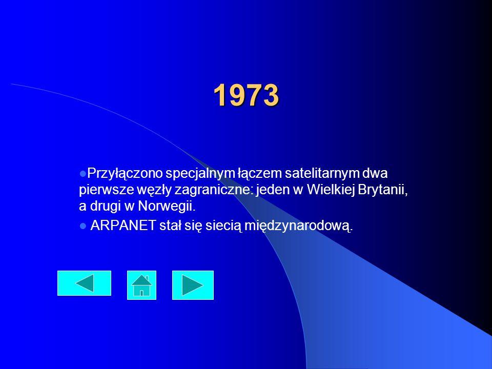 1973 Przyłączono specjalnym łączem satelitarnym dwa pierwsze węzły zagraniczne: jeden w Wielkiej Brytanii, a drugi w Norwegii.