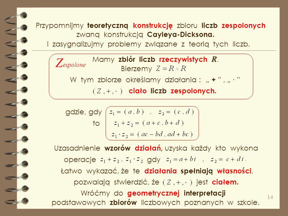 Przypomnijmy teoretyczną konstrukcję zbioru liczb zespolonych